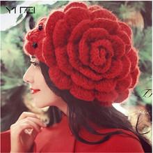 Słodkie kobiety czapka zimowa czapki duże kwiaty koraliki czapki Lady nakrycia głowy czapki damskie czapki zimowe damskie wełniane czapki z dzianiny tanie tanio Stałe Wełna COTTON Dla dorosłych Na co dzień M355(10) yanyanmumu Skullies czapki spring autumn winter 55-59cm Dating shopping party etc