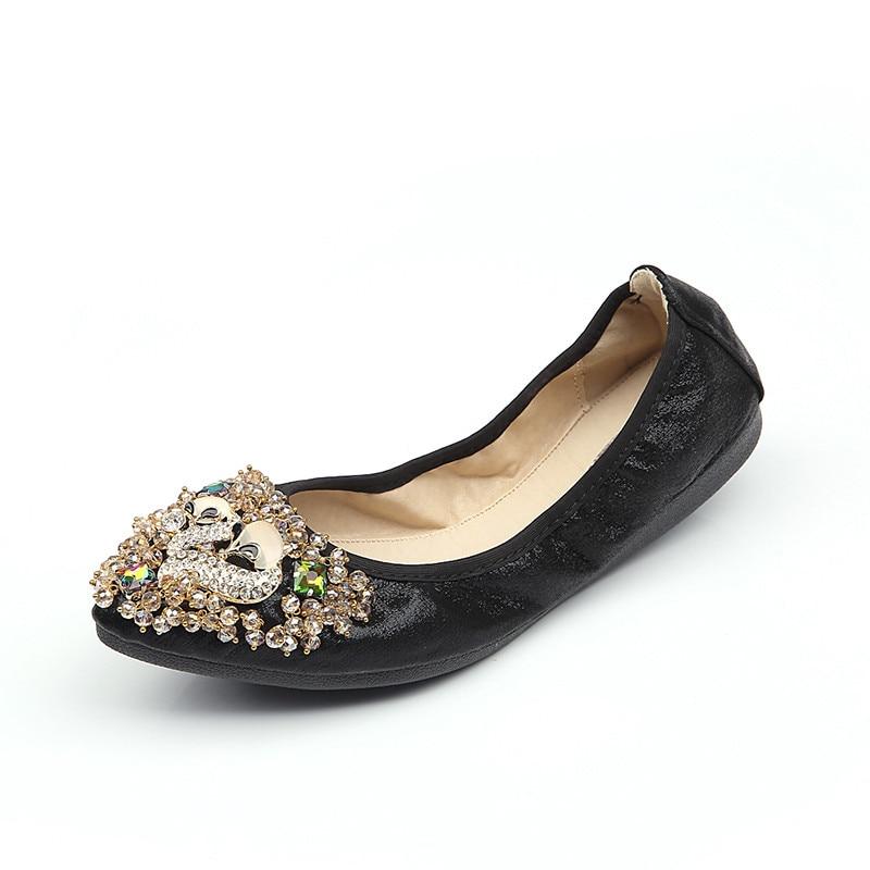 4 Zapatos 45 2 Pisos 2018 Señoras Plata La Ballet Manera 1 5 Size32 Las Del Holgazanes Marca De Punta Estrecha Negro 6 3 Planos Lolita Mujeres IHqgZ