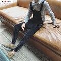 2016 nueva ropa de hombre Negro y gris tela de pana Delgada pierna pantalones pantalones del babero del mono de correas Siameses trajes del cantante M-XXL