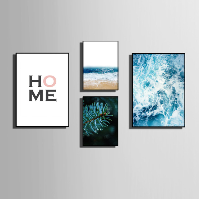 Nordic style Art Print Framed Canvas Painting Art Letters And Ocean ...