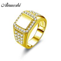 AINUOSHI Real Gold Top Smooth Halo Ring 14K Solid Yellow Gold Top Flat Sides Rows Drills Sona Diamond Engagement Wedding Band
