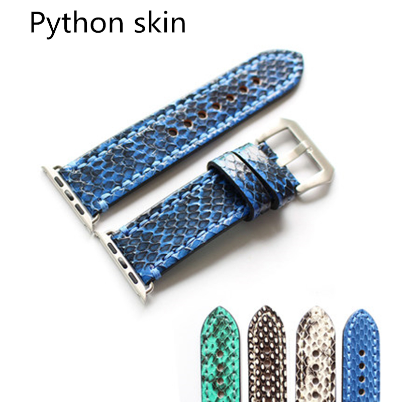 TJP Top Quality Green Gray Blue Genuine leather Python skin 38mm 42mm Apple Watch bands iwatch Strap Bracelet With Adapter игрушка ecx ruckus gray blue ecx00013t1