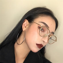 Big Gold Circle Round Hoop Earrings For Women Simple Design Shiny Smooth Clear Charm Large Hollow Earring Fashion Jewelry A305(China)
