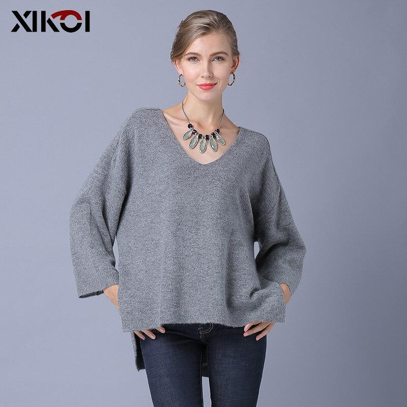 Pulls Et Épais Femme Femmes Shirt Black Solide apricot Chandail Mode Xikoi Décontracté Accompagnement Pull Tricoté gray Court 2018 qf6On4Pw