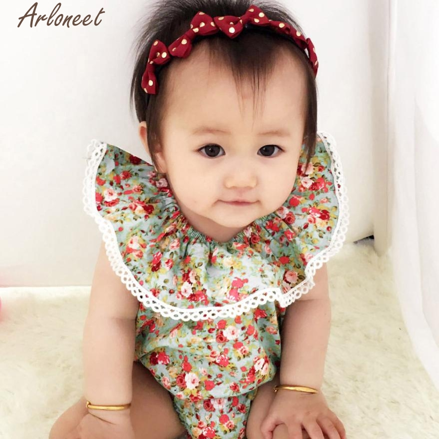 ARLONEET Baby Girl Clothes Toddler Baby Girl Floral Print Romper Newborn Soft Baby Girl Clothes