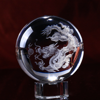 80mm 3D Laser Engraved Dragon Glass Ball Sphere Feng Shui Decorative Crystal Globe Craft Home Decoration Accessories