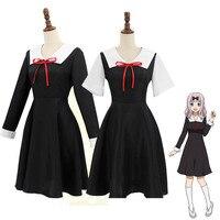 Anime Kaguya sama Love Is War Fujiwara Chika Cosplay Cotumes Women Girls Uniform Dress Headwear Set Outfit