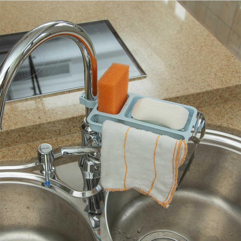 ห้องครัวเหล็กอ่างล้างจานแขวน Punch ก๊อกน้ำเก็บห้องน้ำ Hollow Out ชั้นวางห้องครัวท่อระบายน้ำ Rack Organizer