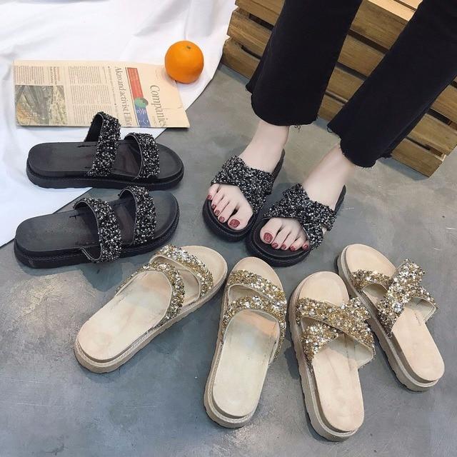 719666978edded ... Bling Crystal ladies beach gladiator sandal anti-skid women summer  shoes glitter gold thick heel ...