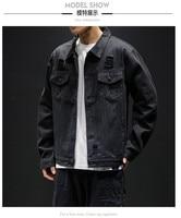 Men Blue Black Denim Jackets Outerwear Jean Coats New Spring Autumn Men Holes Jean Jackets Men Slim Denim Jackets Size 5XL