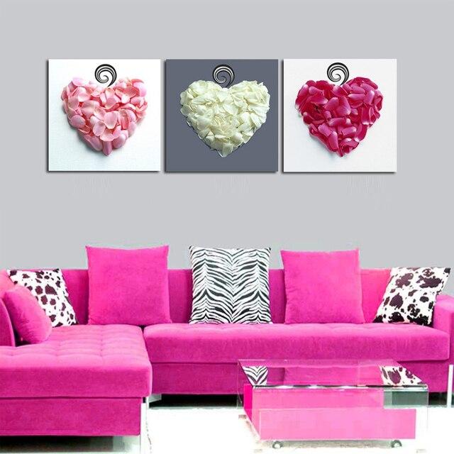 3 Pannello Del Cuore di Amore Petali di Fiori di Arte Quadri Su Tela ...