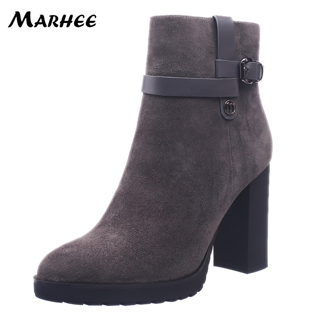 MARHEE Black Gray Women Ankle Booties 2018 Winter High Heels Leather Boots Platform Ladies Shoes Sheepskin 9.9CM Chunky X48-L056 autumn spring fashion women chunky heel boots high heels platform ankle booties black gray leather ladies shoes plus size 43