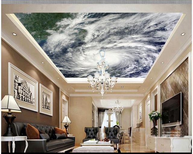 Custom 3d photo wallpaper 3d ceiling murals wallpaper Hd typhoon cloud  image satellite imagery ceiling decoration