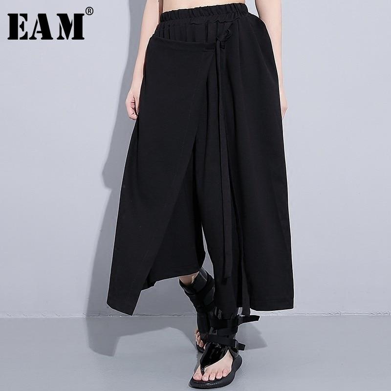 [EAM] 2019 New Spring Summer High Waist Solid Color Black Irregular Loose   Wide     Leg     Pants   Women Toursers Fashion All-match JC014
