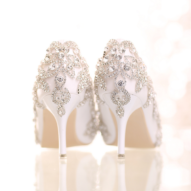 Sweet pink Wedding Shoes with crystal ultra High Heels pointed toe formal dress Shoes rhinestone Women Pumps large size 40-47