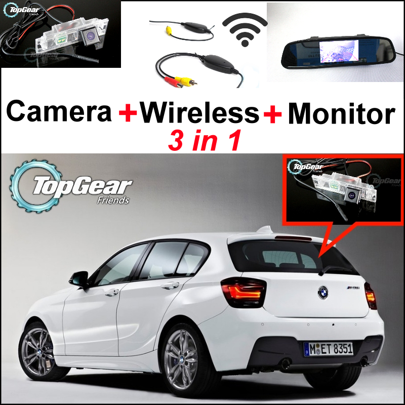 For BMW 1 M1 F20 F21 3in1 Special WiFi Camera + Wireless Receiver + Mirror Monitor Easy DIY Rear View BackUp Parking System 3in1 diy for hyundai i25 i35 i45 wireless wifi bluetooth backup rear view reverse rearview camera camara & screen monitor