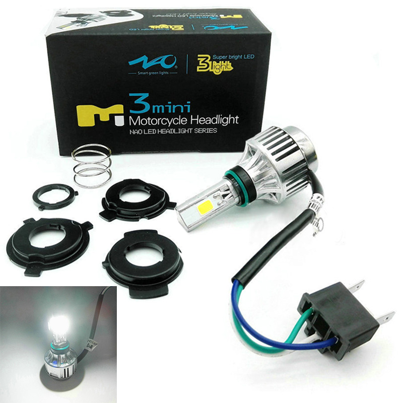 H4 BA20D 34W LED Hi Lo Beam Motorcycle Headlight Front Light Lamp Bulb 6500K