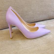 Free shipping fashion women Pumps purple matt leather Pointy toe high heels shoes size33-43 12cm 10cm 8cm Stiletto thin heeled цены онлайн