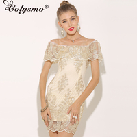 Colysmo New Fashion Girl Short Sleeve Slash Neck Sexy Sequin Dress Gold Autumn Sheer Party Dress