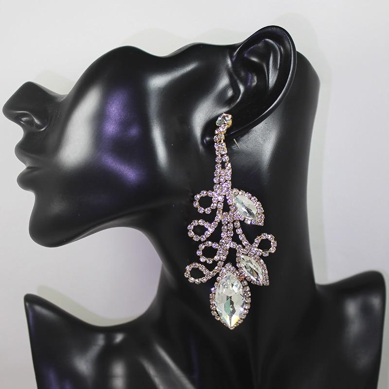 Dubbele schudden Crystal Flowe grote lange oorbellen opknoping pave - Feestversiering en feestartikelen - Foto 2