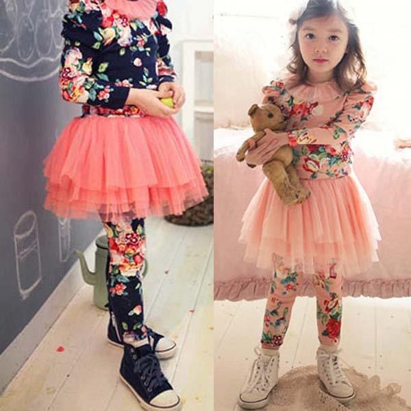 Hot Leggings for Kids Baby Girls Culottes Floral Leggings Tutu Tulle Gauze Legging Pants Skirts 2