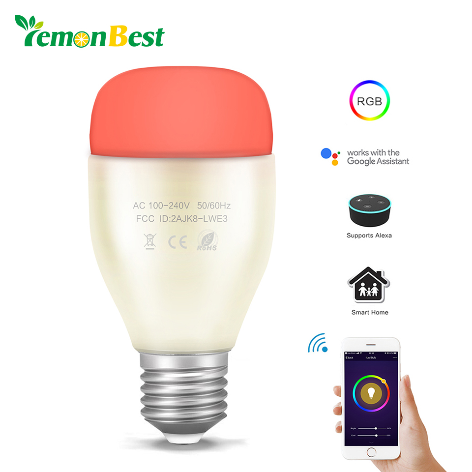 WiFi Smart Bulb 6W E27 RGB White LED Light Support Remote Control / Music Rhythm / Adjust Brightness for Android iOS Smartphone 2 4g wifi android ios app remote control led globe light bulb e27 9w rgb