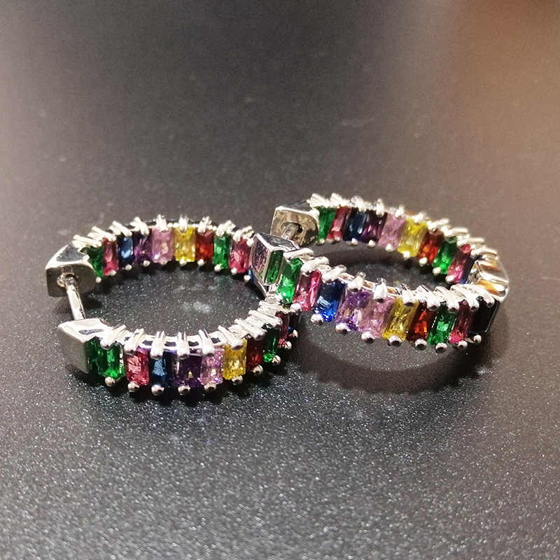 Multicolor Square Zircon Hoop Earrings For Women Gifts New Arrival Bohemia Rainbow Earrings Resort Style Fashion Jewelry