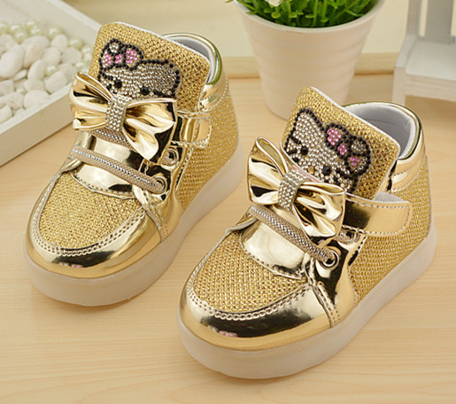 Hello-Kitty-Rhinestone-Led-Light-Shoes-Children-Baby-Girls-fashion-PU-shoes-Slip-on-casual-shoes-for-Christmas-3