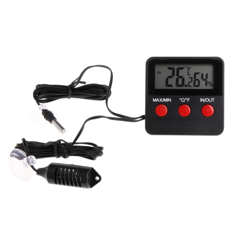 1 Pc Numérique Thermomètre Hygromètre Reptile Température Humidité avec Capteur À Distance