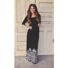 2017 Fashion Women Summer Lace Long Sleeve Party Evening Maxi Long Dress