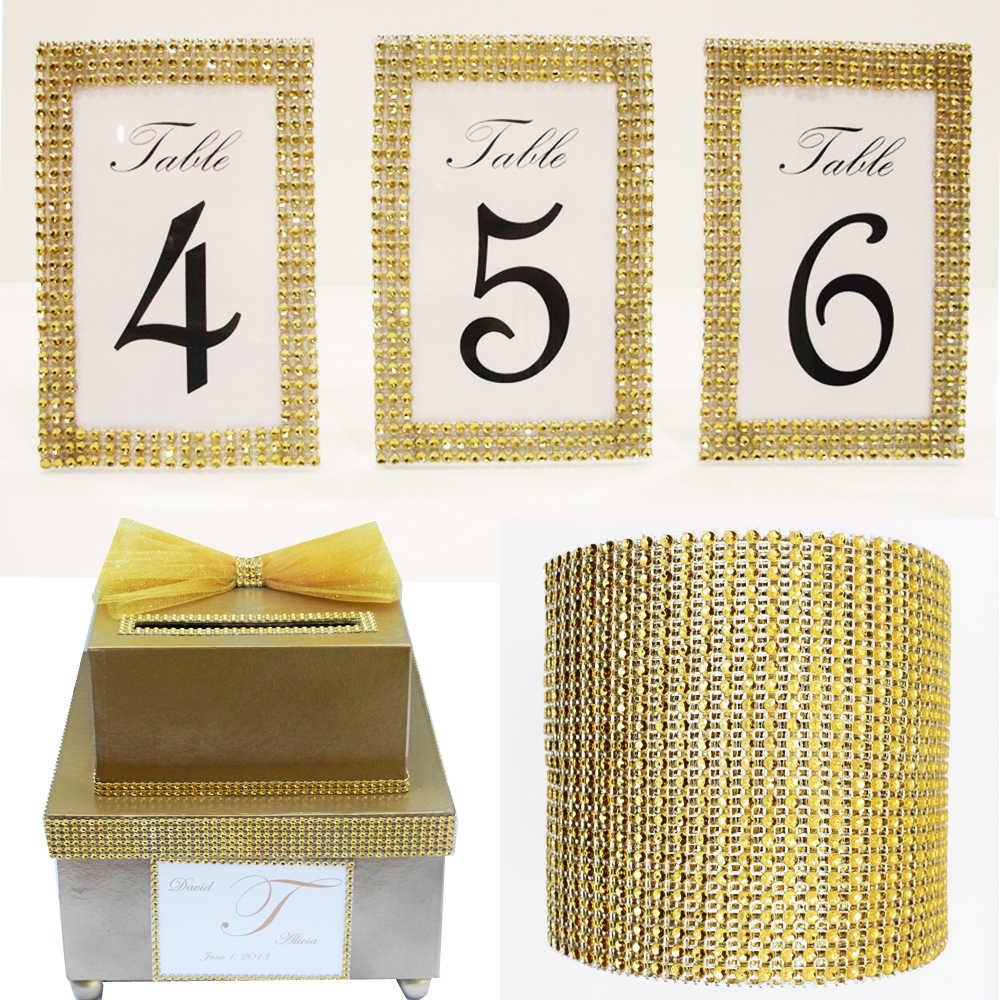 """1.58 """"argent or diamant maille noël creux Imitation cristal ruban strass maille coupe base 8 rangées bricolage faveurs Supplie"""
