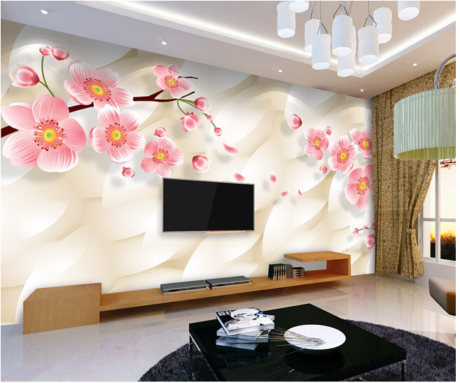 Custom 3D floral wallpaper,warm and elegant pink plum murals for the living room bedroom TV background wall waterproof wallpaper custom baby wallpaper snow white and the seven dwarfs bedroom for the children s room mural backdrop stereoscopic 3d