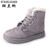 2016 New 8 Colors Ankle Boots For Women Solid Flat Casual Women Snow Boots Lace Up