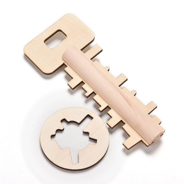 Novelty Key Unlock Puzzle Intelligence Educational Toys Puzzles Pre-school Wooden Kids Babies Children Toy