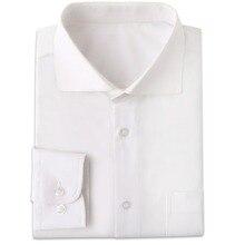 Kırışıklık dayanıklı beyaz erkek elbise gömlek Custom Made Slim Fit uzun kollu erkek elbise gömlek Blanche Chemise Homme Manche Longue