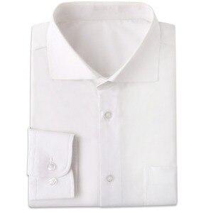 Image 1 - Odporne na zmarszczki białe męskie ubranie koszule Custom Made Slim Fit z długim rękawem mężczyźni sukienka koszula Blanche koszulka Homme Manche Longue