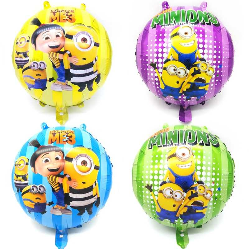 KUWANLE 10pcs/lot 45*45cm Cartoon Minions Foil Helium Balloon Despicable Me 3 Birthday Party Supplies Decoration Balloon Globos