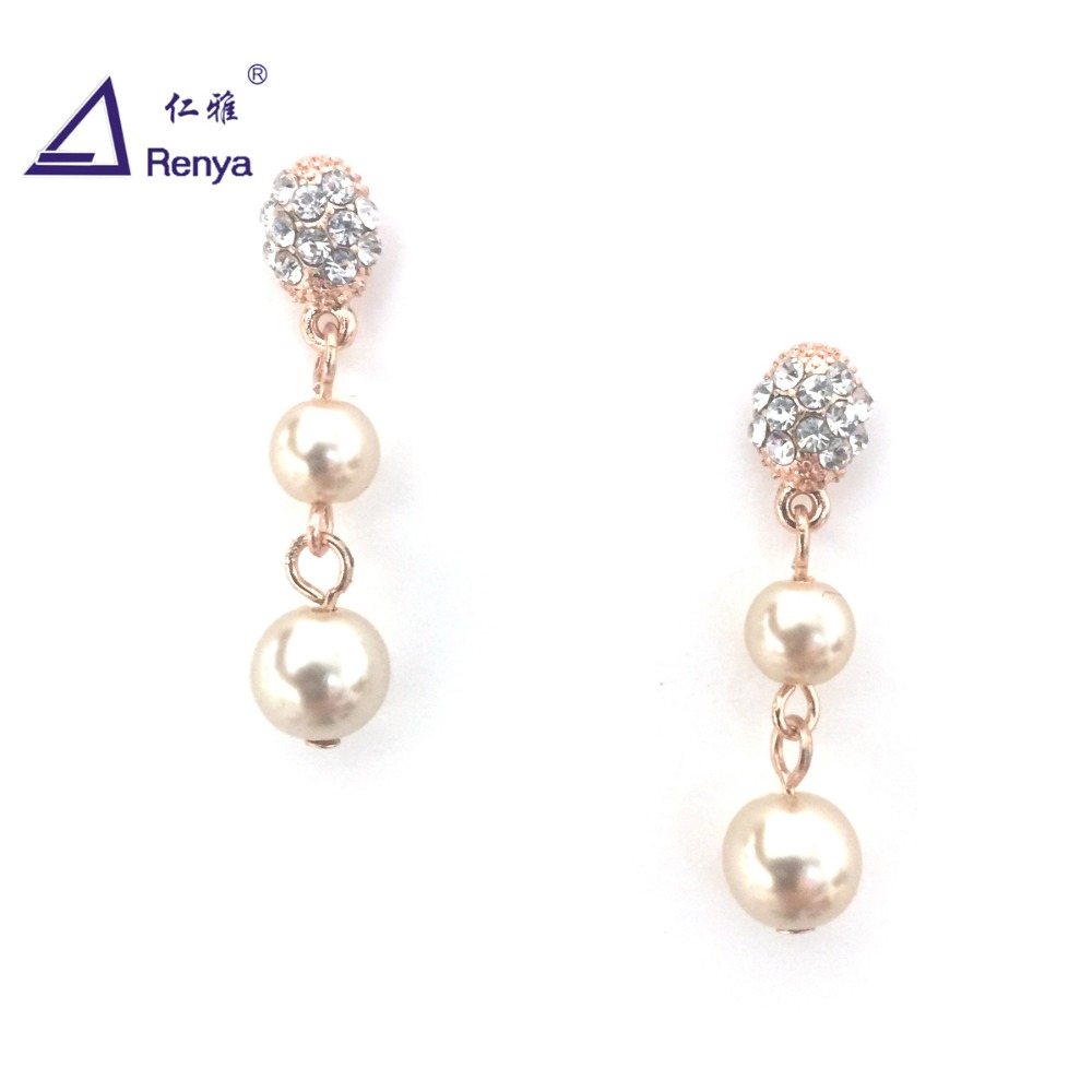 Renya Fashion Wedding Fireball Post With Pearl Pendant Earring for Women