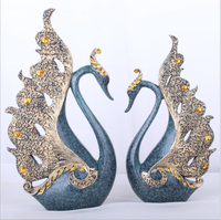 Longree Home Luxury Decor Resin Gold/silver Couple Swan Wedding Ornament Home TV/Wine Cabinet Decoration Gift Swan Figurine