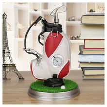 Caiton Mini golftas pennenhouder met gazonbasis klok en drie golfclub pennen decoratie cadeau