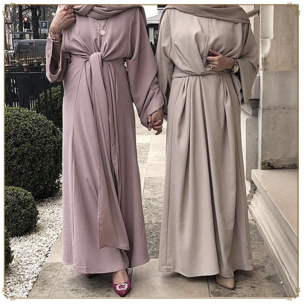 Dubai Abayas For Women Muslim Clothing Robe Bandage Kaftan Dress Islamic Caftan Open Front Eid Abaya Arabic Vestidos(China)