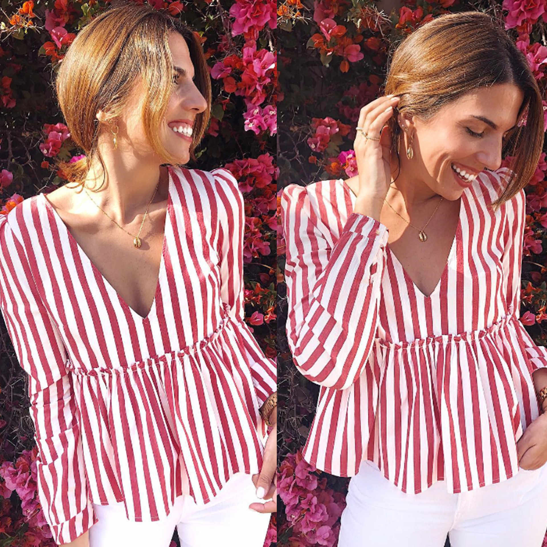Sexy Low Cut Striped Slim Lantern Sleeve Women BlouseThe Doll Is Installed Tops Women Blouse and Shirt