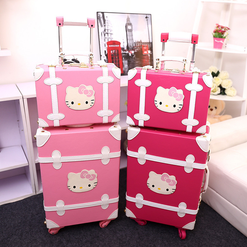 14/22/24 inch Lovely retro stick box girls pink hello Kitty rolling luggage suitcase boarding box trunk14/22/24 inch Lovely retro stick box girls pink hello Kitty rolling luggage suitcase boarding box trunk