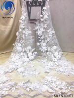 BEAUTIFICAL white 3d lace fabric fabric 3d lace floral 3d lace flower applique 5yards/lot for wedding fabric fabrics ML1N766