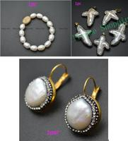 High Qulity Natural Fresh Water Pearl Coin Beads Gold Color Hooks Earrings Fashion Woman Party Jewelry