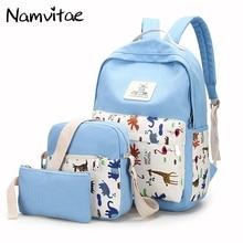 3 шт./компл. рюкзак Для женщин элегантный дизайн школьная сумка для подростков Обувь для девочек композитный Сумки милые Животные печатных женский Рюкзаки