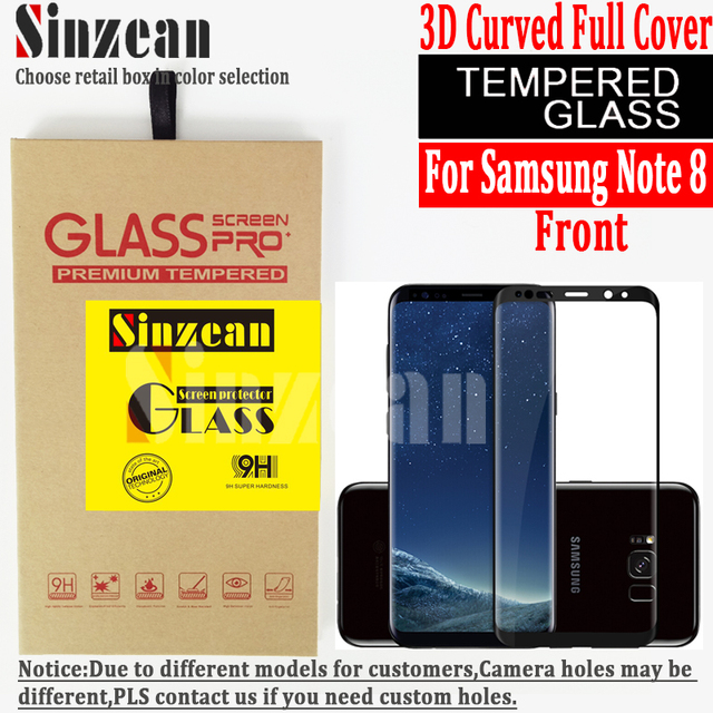 Sinzean 100pcs/lot For Samsung galaxy note 8 3D full covered Tempered Glass screen protector 3D curved glass