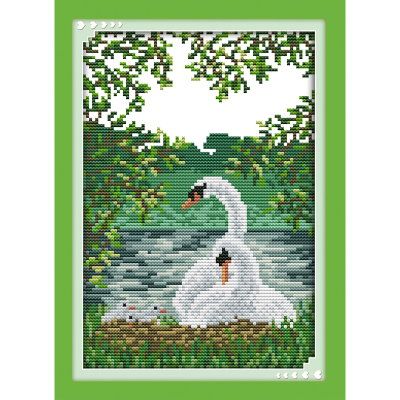 Everlasting love White swan (2) Chinese cross stitch kits Ecological cotton stamped 11CT DIY gift new year decorations for home
