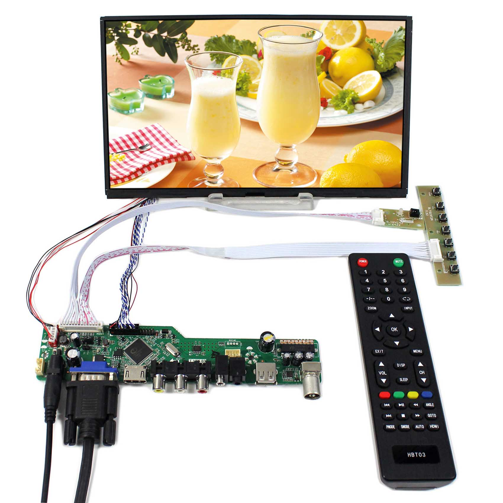 TV HDMI VGA AV USB AUDIO LCD controller Board+10.1inch B101XAN01 IPS lcd panel t v56 03 vga hdmi av audio usb tv lcd controller board for b154pw01 b154pw02 1440x900 ccfl lvds lcd ad board raspberry pi