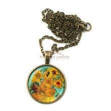 Фотография BZA0639 sunflowers pendant Van Gogh painting Sunflowers Glass Cabochon Necklace handmade jewelry